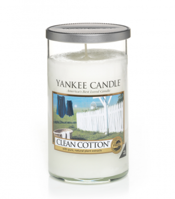 Yankee Candle Clean Cotton Glass Pillar M